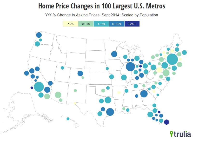 Les plus grands hausses immobilières parmi 100 agglomérations américaines